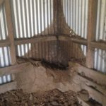 Termite nest after opening (note completely destroyed timbers)