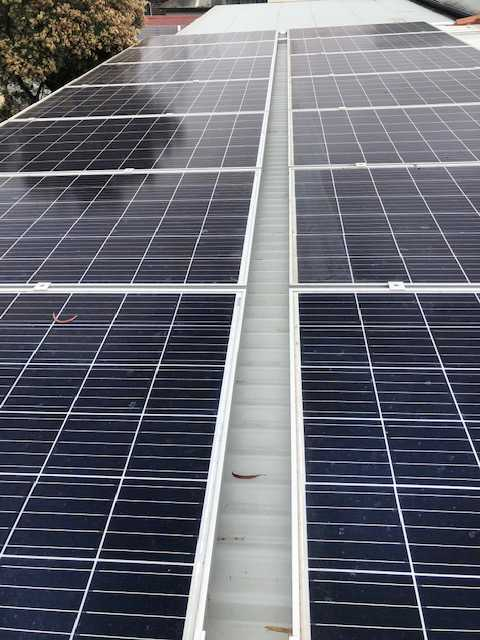 A large solar panel array on a corrugated metal roof, in need of bird protection
